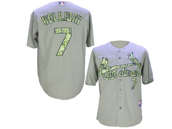 Mens Mlb St.louis Cardinals #7 Matt Holliday Gray Camo Usmc Jersey