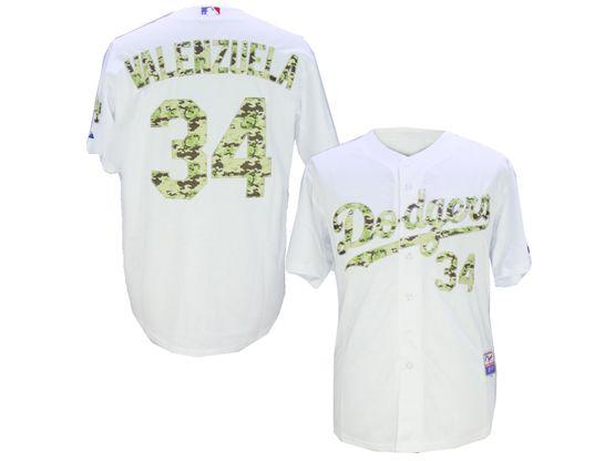 Mens Mlb Los Angeles Dodgers #34 Fernando Valenzuela White Camo Usmc Jersey