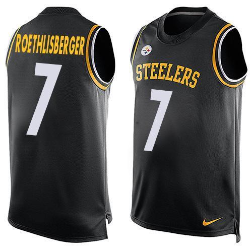 Mens Nfl Pittsburgh Steelers #7 Ben Roethlisberger Black Tank Top Jersey