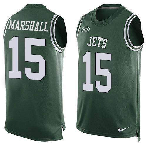 Mens Nfl New York Jets #15 Brandon Marshall Green Tank Top Jersey