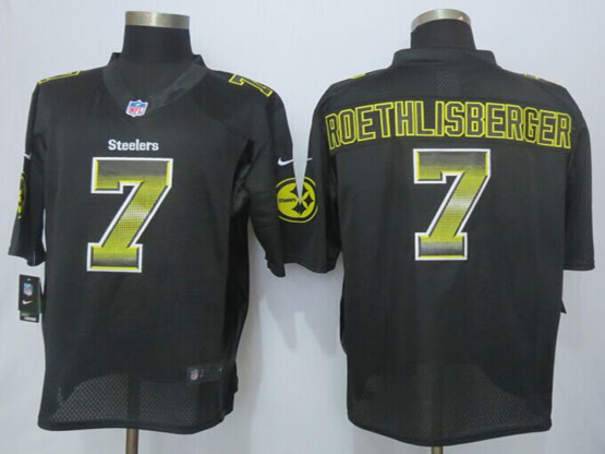 Mens Nfl Pittsburgh Steelers #7 Ben Roethlisberger Black Strobe Limited Jersey