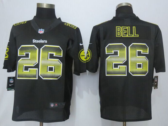 Mens Nfl Pittsburgh Steelers #26 Leveon Bell Black Strobe Limited Jersey