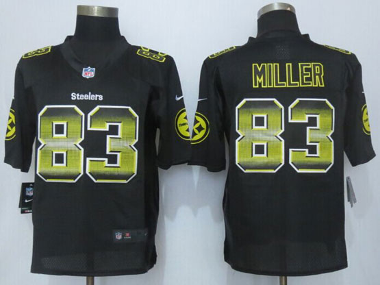 Mens Nfl Pittsburgh Steelers #83 Heath Miller Black Strobe Limited Jersey