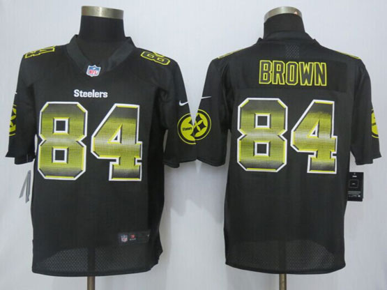 Mens Nfl Pittsburgh Steelers #84 Antonio Brown Black Strobe Limited Jersey