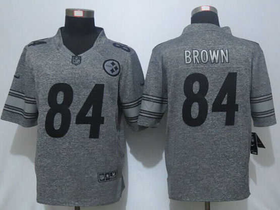 Mens Nfl Pittsburgh Steelers #84 Antonio Brown Gray Stitched Gridiron Limited Jersey