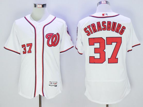 mens majestic washington nationals #37 stephen strasburg white Flex Base jersey