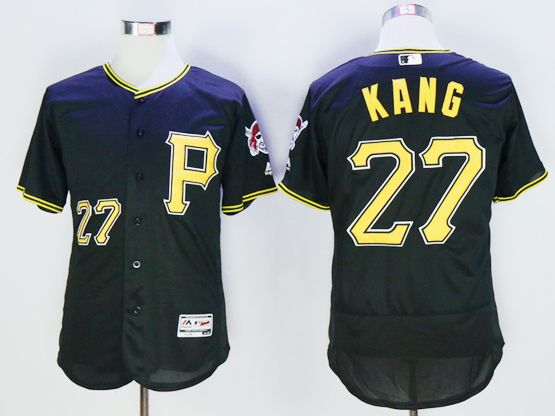 mens majestic pittsburgh pirates #27  jung ho kang black Flex Base jersey