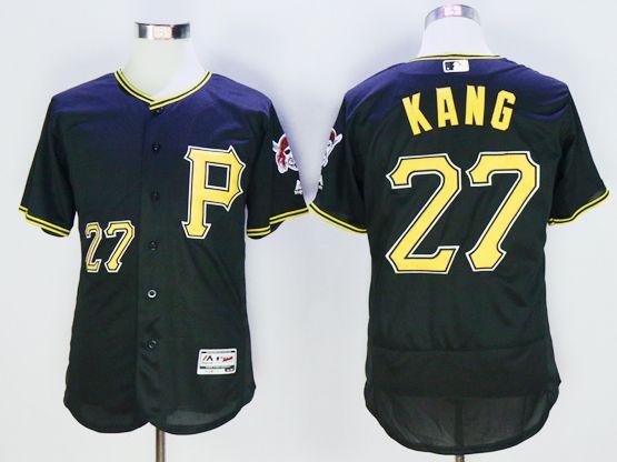 Mens Majestic Pittsburgh Pirates #27  Jung Ho Kang Black Flexbase Jersey