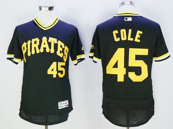 Mens Majestic Pittsburgh Pirates #45 Gerrit Cole Black Pullover Flexbase Jersey