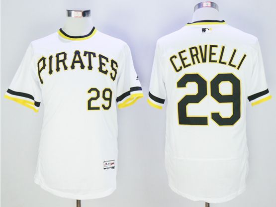 mens majestic pittsburgh pirates #29 francisco cervelli white pullover Flex Base jersey