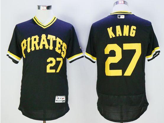 Mens Majestic Pittsburgh Pirates #27 Jung Ho Kang Black Pullover Flexbase Jersey