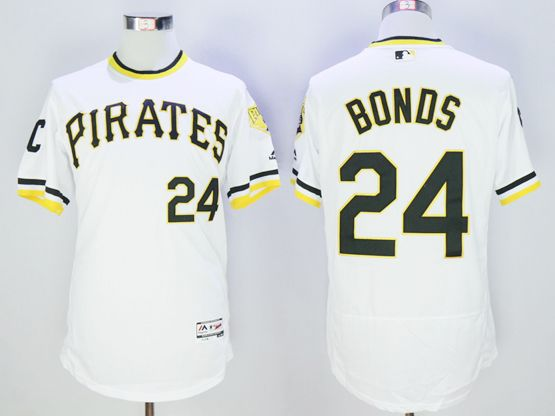 mens majestic pittsburgh pirates #24 barry bonds white pullover Flex Base jersey