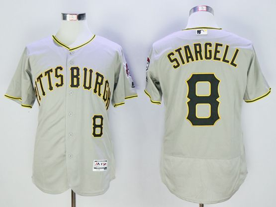mens majestic pittsburgh pirates #8 willie stargell gray Flex Base jersey