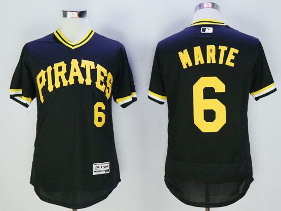 Mens Majestic Pittsburgh Pirates #6 Starling Marte Black Pullove Flexbase Jersey