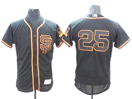 mens majestic san francisco giants #25 barry bonds black Flex Base jersey