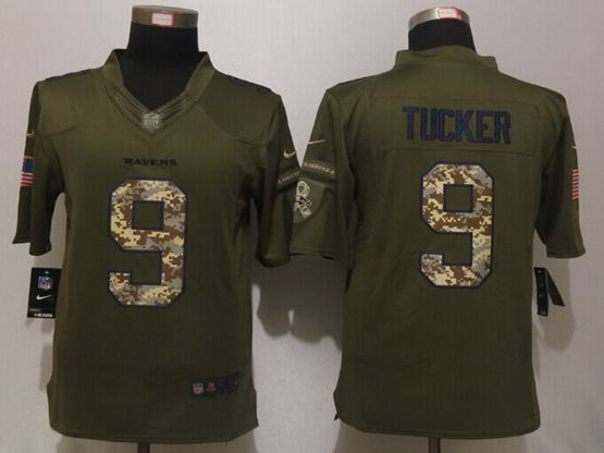 Mens Nfl Baltimore Ravens #9 Justin Tucker Green Salute To Service Limited Jersey