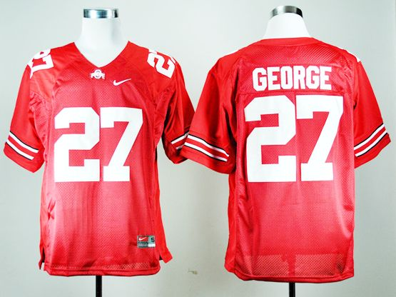 Mens Ncaa Nfl Ohio State Buckeyes #27 Eddie George Red Throwback Jersey