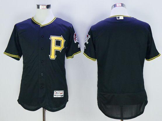 Mens Majestic Pittsburgh Pirates Blank Black Flexbase Jersey