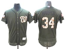 mens majestic washington nationals #34 bryce harper green fashion 2016 memorial day Flex Base jersey