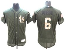 mens majestic st.louis cardinals #6 stan musial green fashion 2016 memorial day Flex Base jersey
