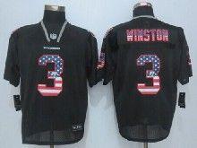 Mens Nfl Tampa Bay Buccaneers #3 Jameis Winston Black Usa Flag Fashion Elite Jerseys