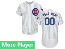 mens majestic chicago cubs white stripe Flex Base jersey
