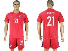 mens soccer chile national team #21 suazo red home 2016 copa america Suit Jersey