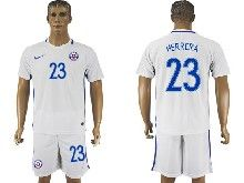 mens soccer chile national team #23 herrera white away 2016 copa america Suit Jersey