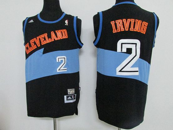 Mens Nba Cleveland Cavaliers #2 Irving Black&light Blue Hardwood Classics Jersey