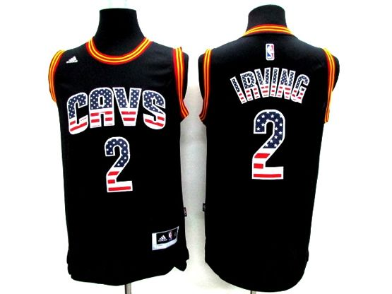 Mens Nba Cleveland Cavaliers #2 Kyrie Irving Black (2014 Usa Flag Fashion) Jersey