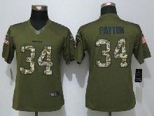 Women  Nfl Chicago Bears #34 Walter Payton Green Salute To Service Limited Jersey