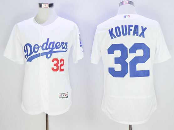 Mens Majestic Los Angeles Dodgers #32 Sandy Koufax White Flexbase Jersey