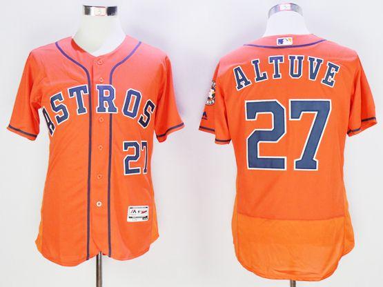 mens majestic houston astros #27 jose altuve orange Flex Base jersey