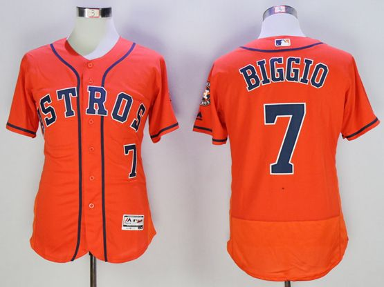 mens majestic houston astros #7 craig biggio orange Flex Base jersey