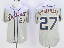 mens majestic detroit tigers #27 jordan zimmermann gray Flex Base jersey