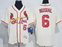 mens majestic st.louis cardinals #6 stan musial cream white Flex Base jersey