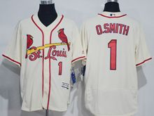 mens majestic st.louis cardinals #1 ozzie smith cream white Flex Base jersey