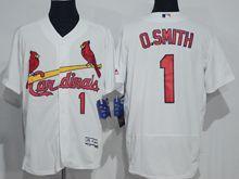 mens majestic st.louis cardinals #1 ozzie smith white Flex Base jersey