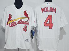mens majestic st.louis cardinals #4 yadier molina white Flex Base jersey