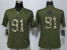 Women  Nfl New Orleans Saints #91 Fletcher Cox Green Salute To Service Limited Jersey