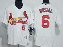 mens majestic st.louis cardinals #6 stan musial white Flex Base jersey