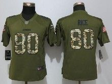 Women  Nfl San Francisco 49ers #80 Jerry Rice Green Salute To Service Limited Jersey