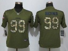 Women  Nfl San Francisco 49ers #99 Deforest Buckner Green Salute To Service Limited Jersey