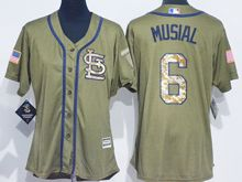 Women Mlb St. Louis Cardinals #6 Stan Musial Green Fashion 2016 Memorial Day Jersey
