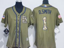 Women Mlb St. Louis Cardinals #1 Ozzie Smith Green Fashion 2016 Memorial Day Jersey