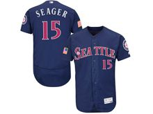 mens majestic seattle mariners #15 kyle seager dark blue fashion stars stripes Flex Base jersey