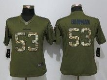 Women  Nfl San Francisco 49ers #53 Navorro Bowman Green Salute To Service Limited Jersey