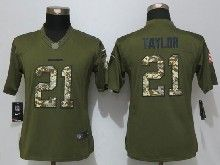 Women    Washington Red Skins #21 Sean Taylor Green Salute To Service Limited Jersey