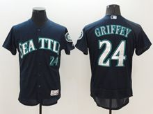 mens majestic seattle mariners #24 ken griffey jr nvay blue Flex Base jersey
