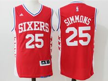 Mens Nba Philadelphia 76ers #25 Ben Simmons Red Jersey